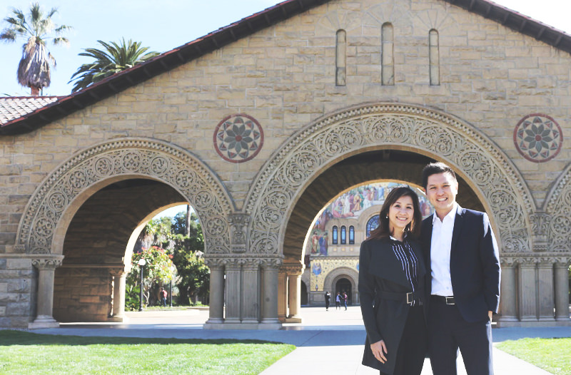 Daniel Chua, Founder of The Titus Group, with his wife Joy, Stanford University, April 2018.